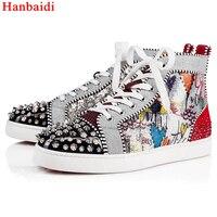 Hanbaidi смешанные Цвет со стразами Повседневная Мужская обувь мода печатных Заклепки Studed мужские лоферы взлетно посадочной полосы с высоким б