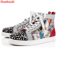 Hanbaidi Mixed Color Rhinestone Mens Casual Shoes Fashion Printed Rivets Studed Mens loafers Runway High Top Lace Up Mens Shoes