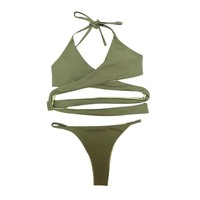 Push Up New 2018 Bikini Set Simple Solid Color Swimwear Women Hot Sexy Halter Low Waist