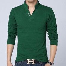 Brand Men Clothes Solid Color Long Sleeve Slim Fit  Cotton T Shirt Men