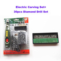 30PCS Diamond Burr Drill+Portable 10W Electric Wood Carving Tools Set Mini Electric Engraving Chisel Pen