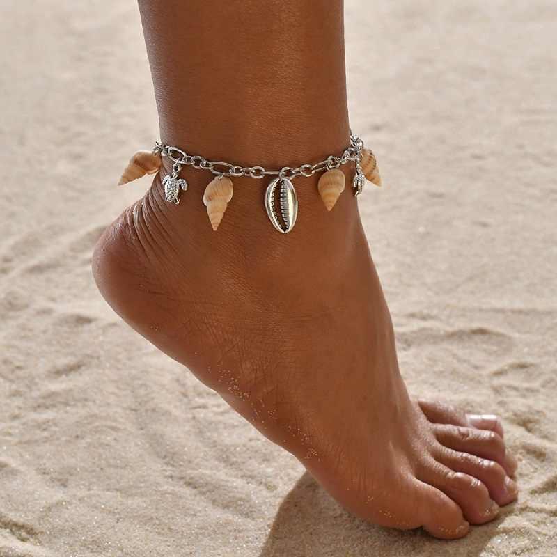 Exknl ฤดูร้อน Beach Silver สีเต่า Anklets สำหรับผู้หญิง Bohemian Anklet สร้อยข้อมือบนขาหญิงเครื่องประดับ 2019