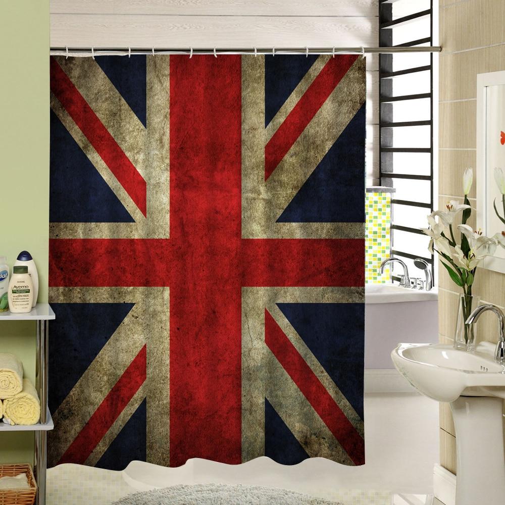 Vintage shower curtains - United Kindom Flag Shower Curtain Vintage Pattern Waterproof Anti Mold Material Textile Bathroom Curtain China