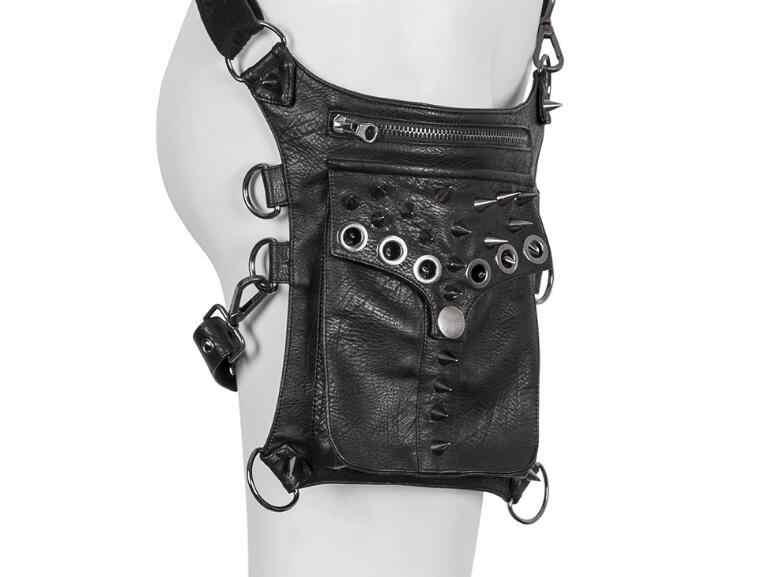 新しいpuレザー多機能ウエストファニー脚バッグパンク岩ヒップオートバイメッセンジャーパック財布