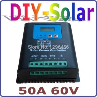 50A 60V Solar Charge Controller LED&LCD Display, Home Use 60V Battery Regulator 50A for 3000W PV Solar Panels Modules