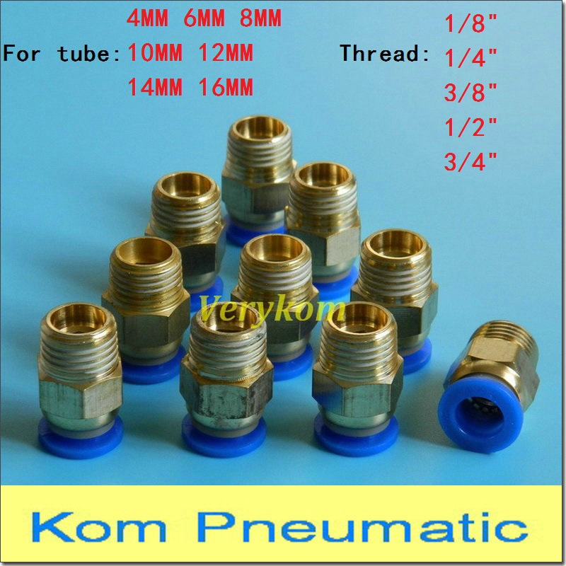 """10X Pneumatic Tube 5//32/'/' To NPT 3//8/"""" Air Pipe Connector Quick Coupling Brass"""