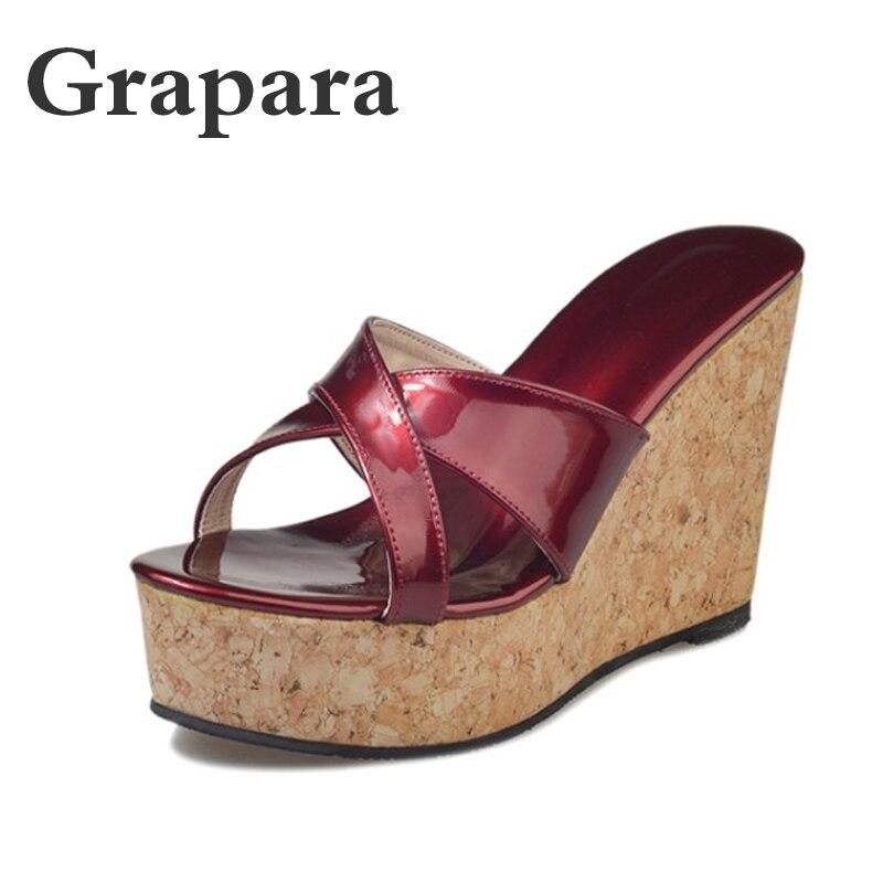 f05f56479c46f Grapara Women Thick Bottom Platform Flip Flops Wedge Heel Shoes 2018 Woman  Summer Sandals Open Toe Super High heels Shoes Female