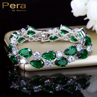 Luxury Emerald Green Cubic Zirconia Diamond Large Women Charm Bracelets Bridal Jewelry Accessories For Bridesmaids E029