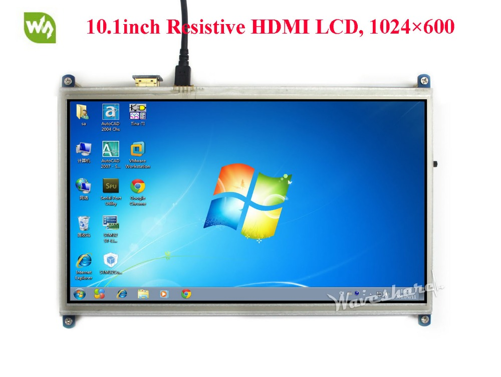 Waveshare 10.1inch HDMI LCD Monitor Resistive Touch Screen 1024*600 Resolution Display Designed for Any Version of Raspberry Pi