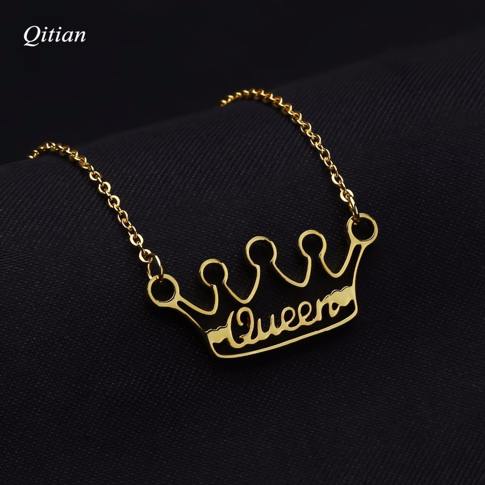 Customize Crown Necklace Personalized Gold Nameplate ID Date Necklaces For Women Statement Stainless Steel Jewelry