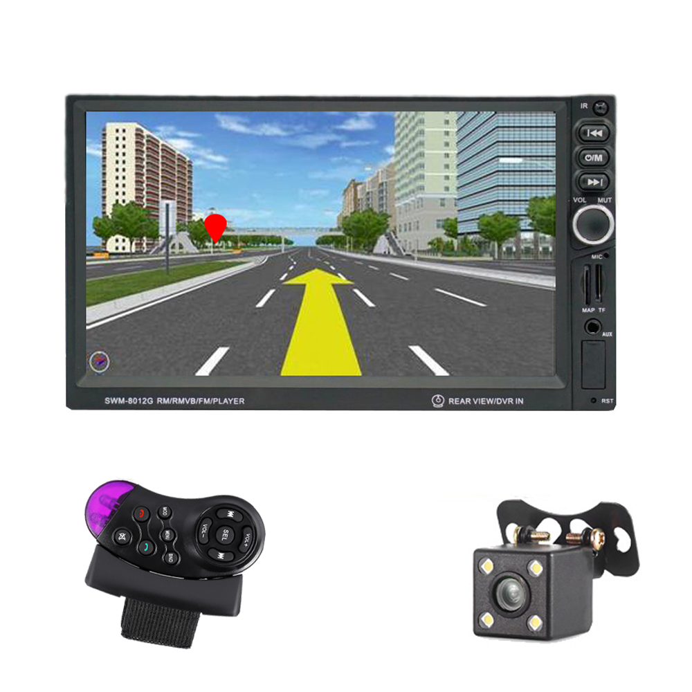 New 7 inch 2 Din Car Multimedia Player MP5 player GPS Navigation Reversing With Camera Support AM/FM Steel Wheel Control hot 7 inch android 4 0 quad core car gps navigation with dvr recorder 1080p 8g media player fm transmitter support wifi igo map