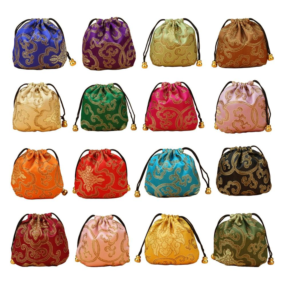 Wholesales/Retails One Pack (32PCS) Silk Brocade Jewelry Pouch Bag Drawstring Coin Purse Gift Bag Value Set