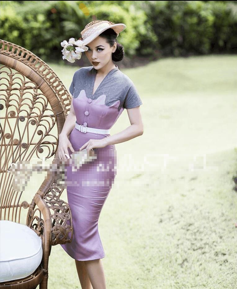 Fashion new Gray lace Stitching Purple V neck Vintage palace sexy Trumpet woman dress summer Hepburn