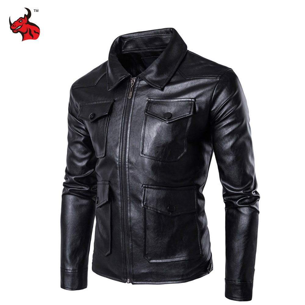 New Mens PU Leather Motorcycle Jackets Vintage Jackets Coats Men Multi Pockets Male Biker Punk Classic Moto Jacket free shipping new vintage brand clothing mens cow leather jackets men genuine leather biker jacket motorcycle homme fitness