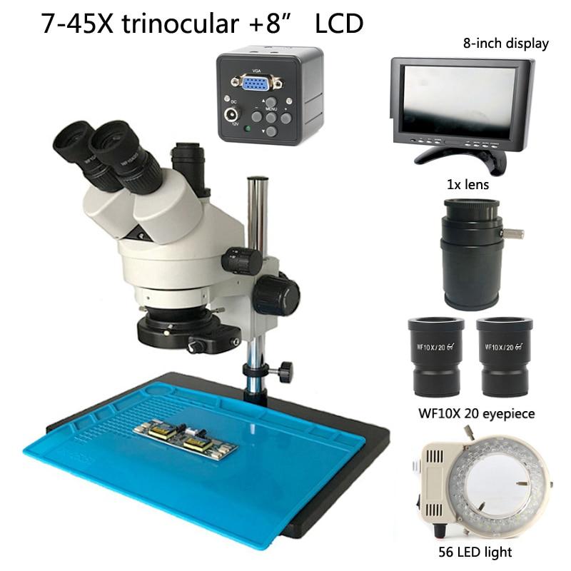 "7X 45X 連続ズーム三眼実体顕微鏡カメラ + 2.0MP VGA 顕微鏡カメラ + 56 led ライト + 8 ""液晶、修理コンピュータ  グループ上の ツール からの 顕微鏡 の中 1"