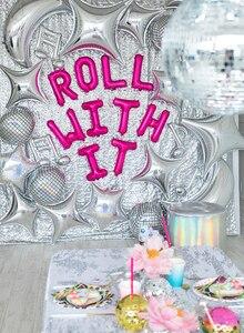 """Image 2 - Ballon holographique en papier daluminium pour fête danniversaire et mariage, ballon Disco argent, 22 """"4D, grande sphère gonflable, suspendus"""