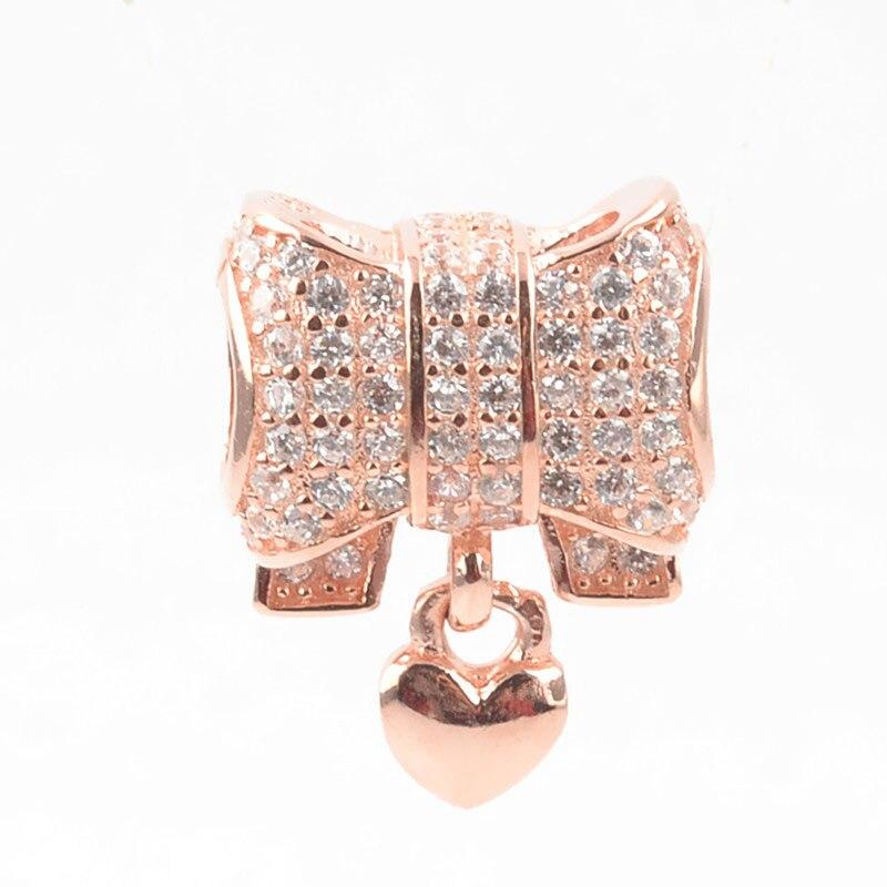 Аутентичные 100% стерлингового серебра 925 очаровательные розовое золото сердца лук Кристаллы из бисера Подвески Fit Пандора Браслеты Для женщин DIY ювелирных