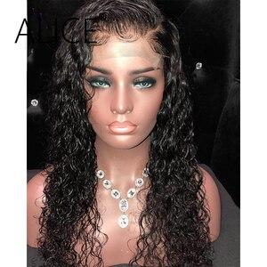Image 4 - ALICE pelucas con minimechones de cabello humano rizado, 130% de encaje brasileño con frente, prearrancado, no remy, 13x4