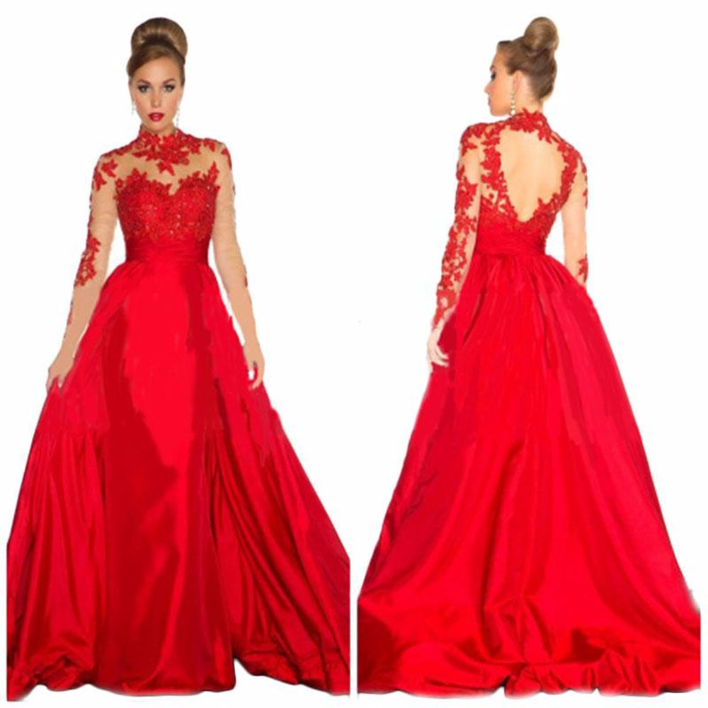 Hot Sale High Neck Floor Length Long Sleeve Lace Dress Long Red long ...