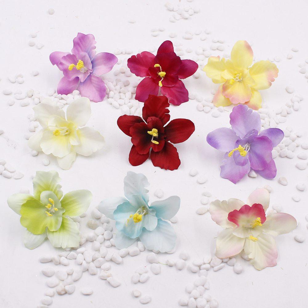 New 5pcs/lot Artificial Thai Orchids Silk Flower Heads 6.5cm for Hair clip wedding decoration Floral