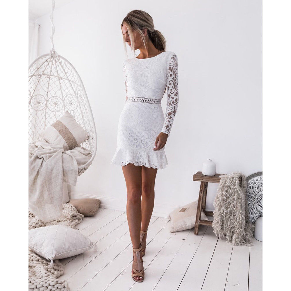 Hot Women Sexy Evening Party Short Mini Dresses Ladies Sexy White Lace Long Sleeve Dress Bodycon Backless Pencil Dress Vestidos