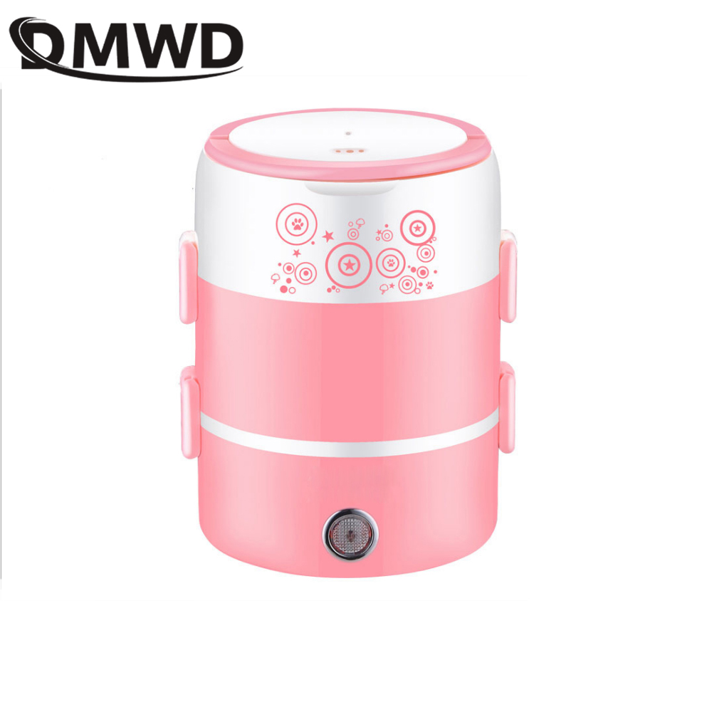 DMWD Two layers portable Multifunction Electric PP Material Stainless Steel Rice Cooker heating lunch box food Steamer container dmwd mini rice cooker insulation heating electric lunch box 2 layers portable steamer multifunction automatic food container eu