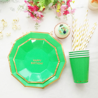 Happy Birthday Tableware Set Of 16 Plate 8 Cup 20 Gold Foil Stripe Straws For Kid