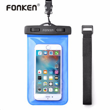 "FONKEN Waterproof Case for Phone Case 5.8"" IPX8 Waterproof Bag Touch Operation 30M Underwater Case Swim Pouch With Lanyard"