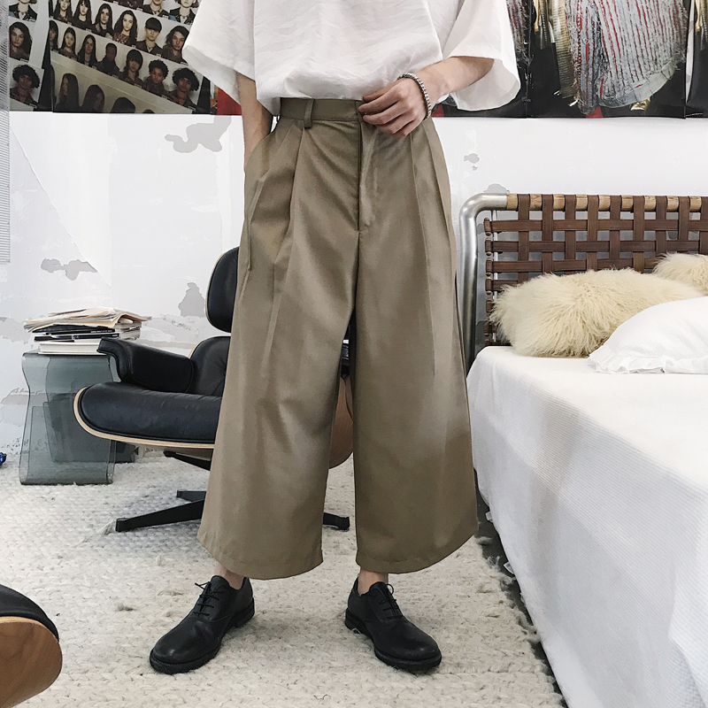 2018 Korean Summer Mens Fashion Tide Simple High Street Wide Leg Haren Pants Loose Casual Black/Brown Color Thin Trousers M-2XL