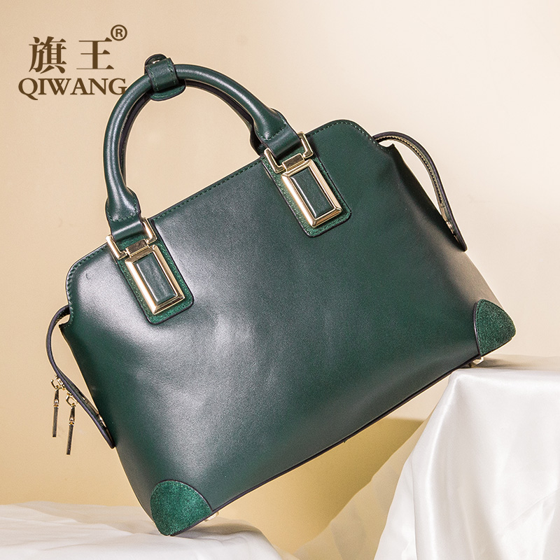 Qiwang NAPA First Layer Cow Leather Bag Green Leather Handbag Fashion Women Luxury Fashion Tote Bag for Women High Quality 2018