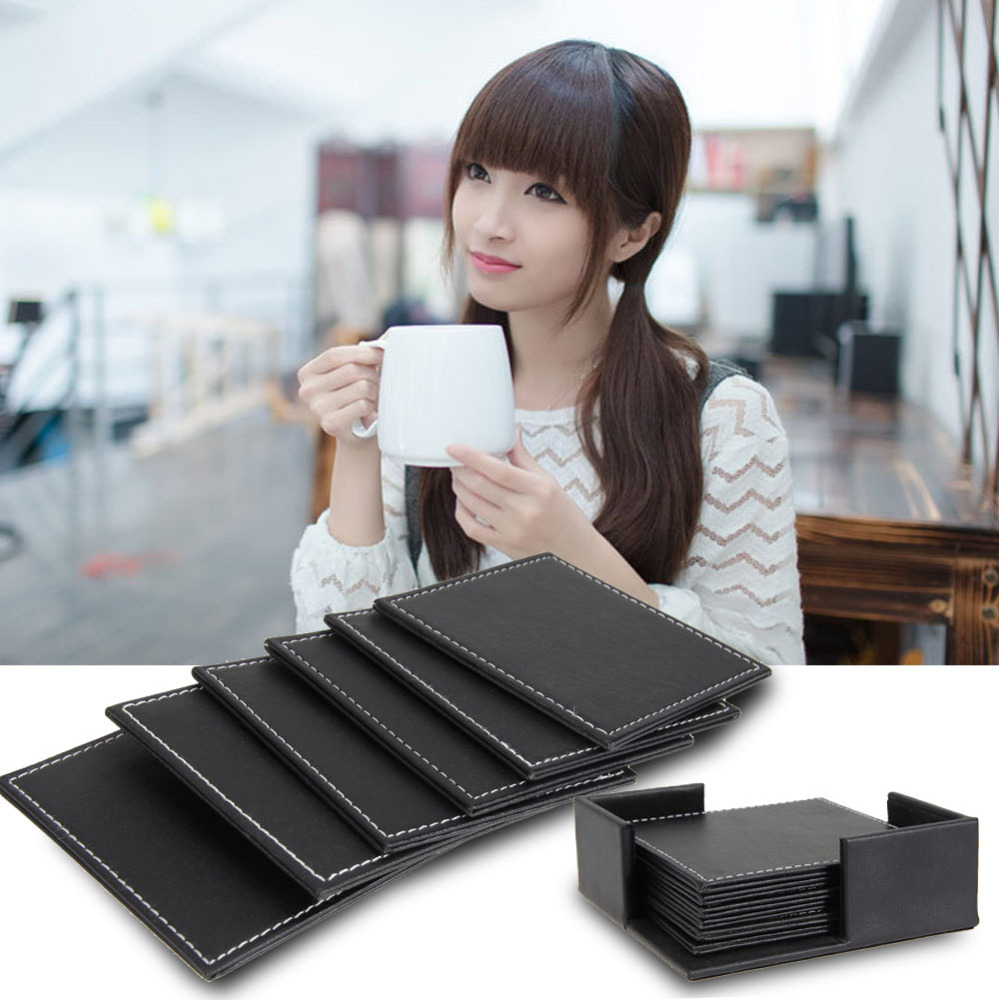 <font><b>6</b></font> Pcs/ <font><b>set</b></font> New Arrival Home Table <font><b>Cup</b></font> Mat Double-deck Leather <font><b>Coasters</b></font> <font><b>Cup</b></font> Placemat <font><b>Coaster</b></font> <font><b>Holder</b></font> Coffee <font><b>Drink</b></font> Placemat