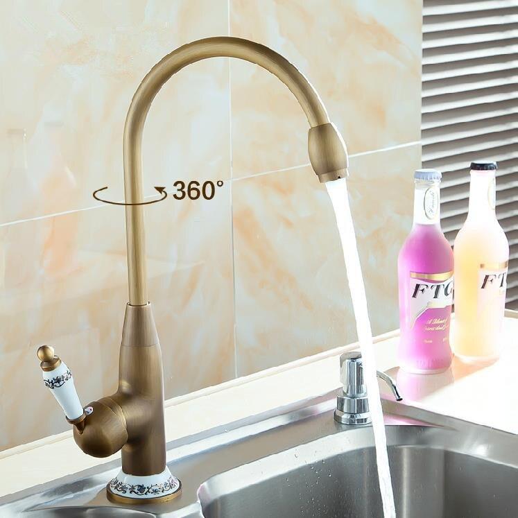 Kitchen Faucets Antique Bronze Taps Deck Mount Ceramic Single Handle Crane Basin Faucet Hot and Cold