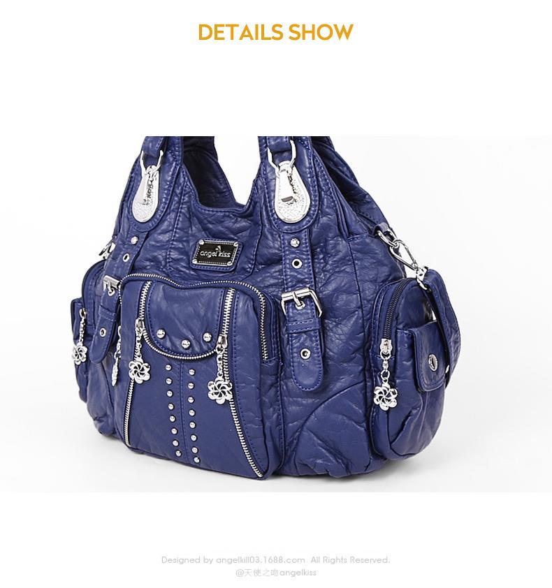 High Designer Washed PU Leather Multi Function Large Messenger Crossbody Bags Chic Travel Shopping Sling Tote Shoulder Bags