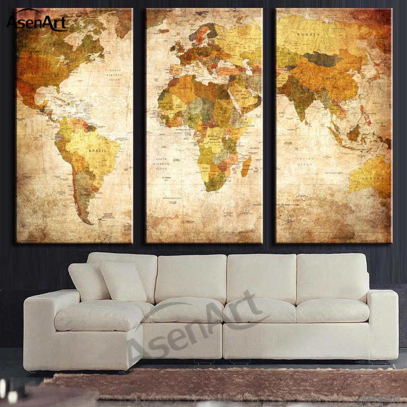 Aliexpress buy 3 panel vintage retro world map canvas painting how we make it gumiabroncs Images