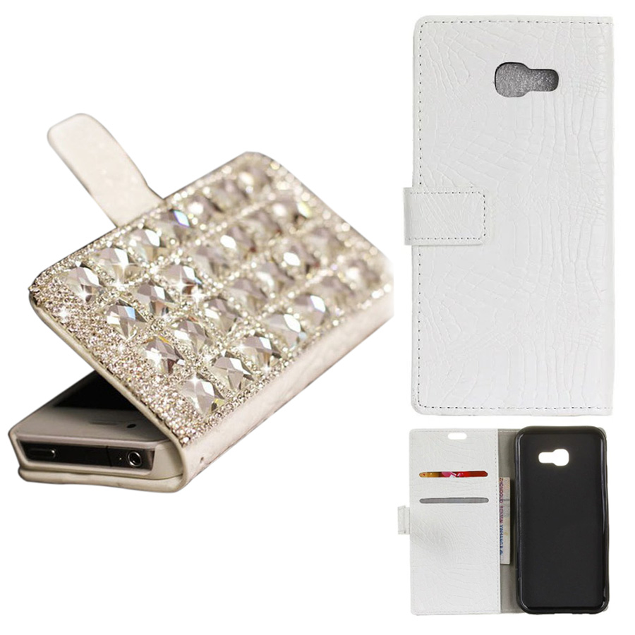 Rhinestone Box Bling Chain Crocodile Leather Stand Flip Wallet Phone Back Case Cover For Samsung Galaxy A5 2017 with card slot
