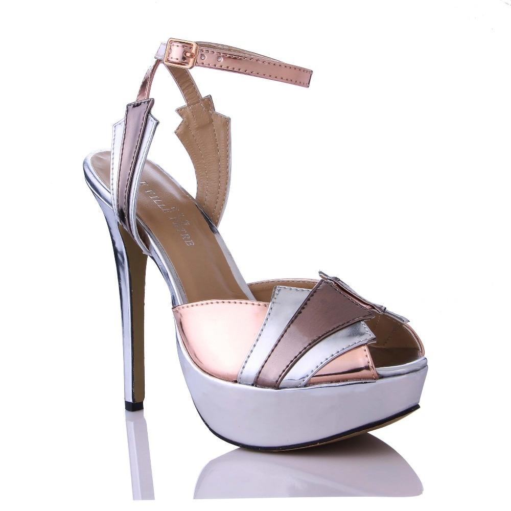 ФОТО Superstar Ankle Strap Extreme High Heels PU Leather Buckle Sandals Women Summer Thin Heel Shoes Woman Fashion Platform Sandalies