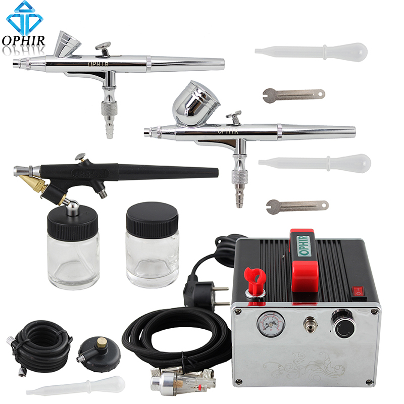 OPHIR 0.2&0.3&0.8mm Airbrush Kit with Air Compressor 110V,220V Airbrush Set Kit for Nail Art Temporary Tattoo_AC091+004A+071+073 ophir pro airbrush compressor 110v 220v with fan