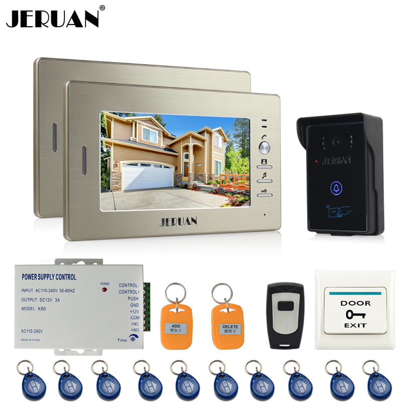 JERUAN 7`` LCD Screen Video Intercom Video Door Phone System 2 monitors + 700TVL RFID Access Waterproof Touch key Camera +Remote jeruan home wired 7 lcd video door phone intercom system 700tvl rfid waterproof touch key password keypad camera free shipping