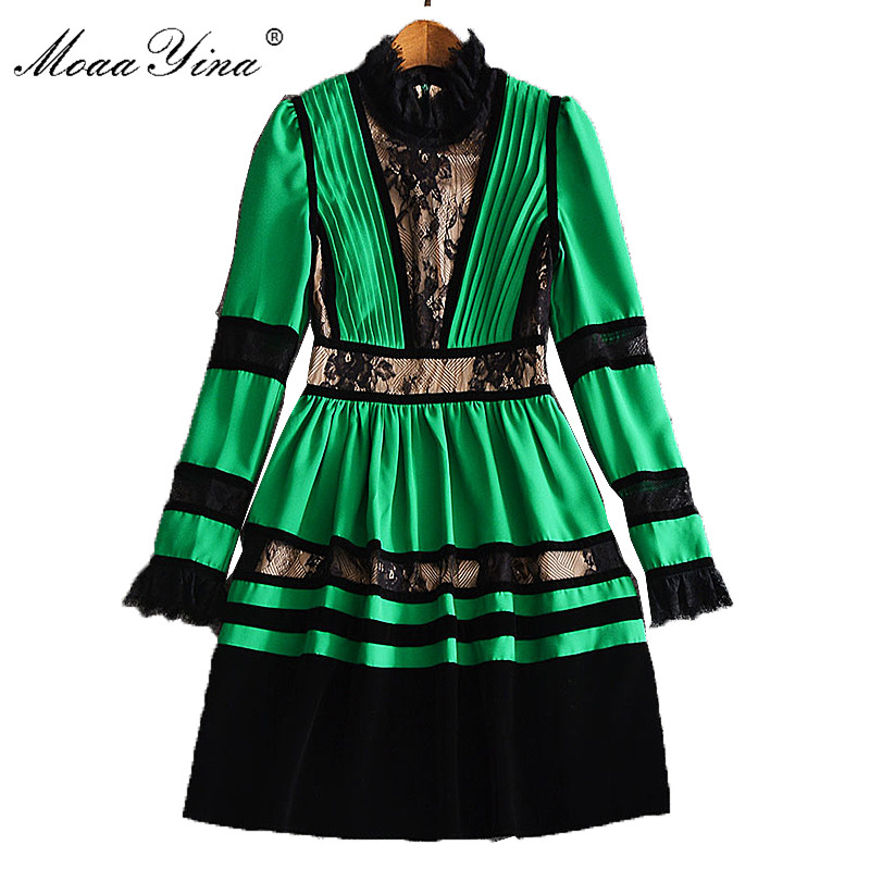 MoaaYina High Quality Fashion Designer Runway Spring Dress Pleated Women Long Sleeve Velvet Patchwork Vintage Lace
