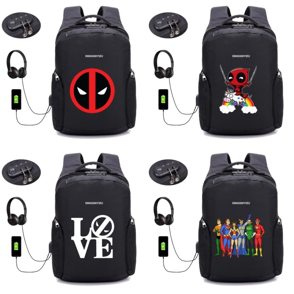 Marvel Deadpool backpack Anti-theft Backpacks USB Charge Laptop Women Backpack Men Waterproof Male Travel backpack 32 style songkun usb charge backpack printing backpack men travel backpack waterproof anti theft laptop backpacks women mochila