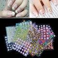 50 hojas/set 3D Diseño Tip Nail Art Sticker Decal Mezcla de La Manicura de Color Al Azar