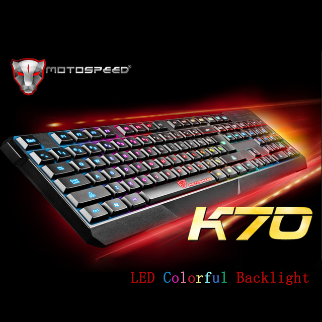 76a9edde6be MOTOSPEED K70 USB Wired 104 Keys Gaming E-sport Keyboard LED Colorful Backlight  Illuminated for