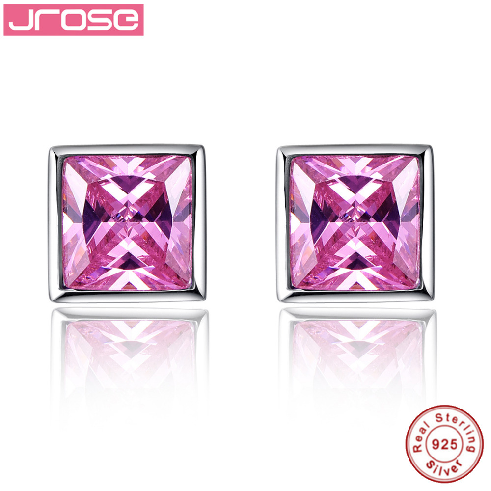 Jrose Engagement Stud Earrings for Fashion Women Solid 925 Sterling Silver Earring 9ct Pink CZ Princess Cut With Jewelry Box