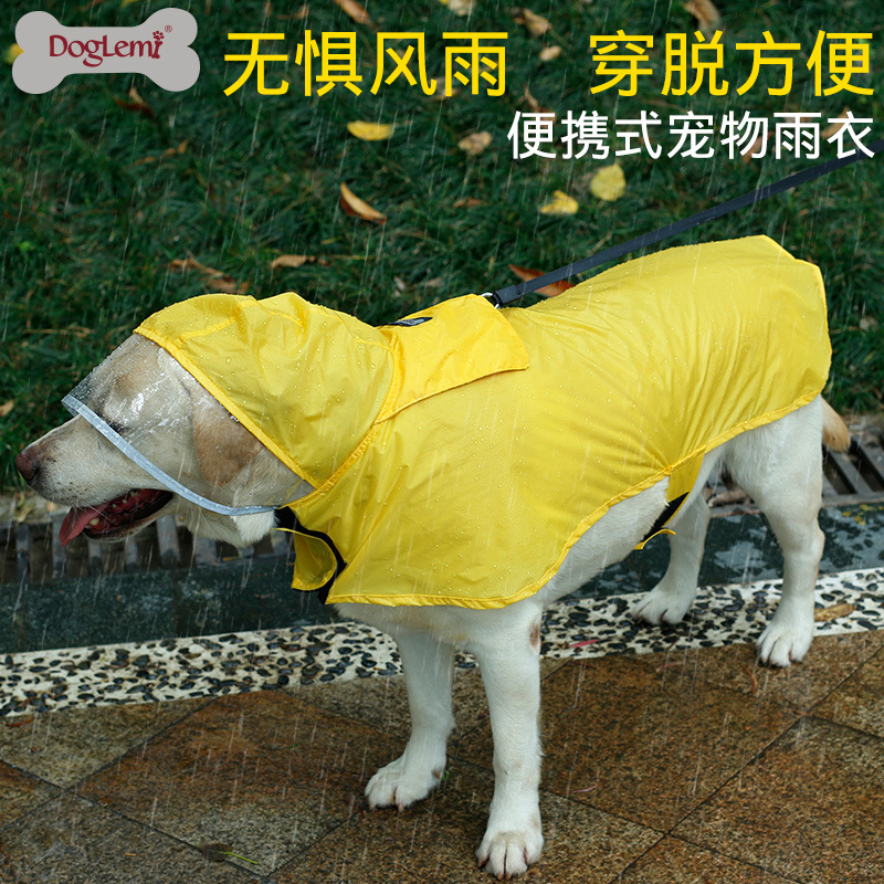 Clear Cap Raincoat For Dogs Waterproof Dog Coat Jacket Reflective Clothes Small Medium Large Golden Retriever Labrador Bulldog