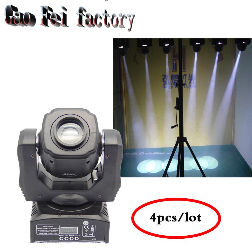 4pcs/lot Newest dj lighting 60W spot light/led dmx stage light/ 60W disco lighting/ 60W led gobo moving head Factory price sale 8pcs lot free shipping best lighting led moving head spot led 90w moving heads factory price