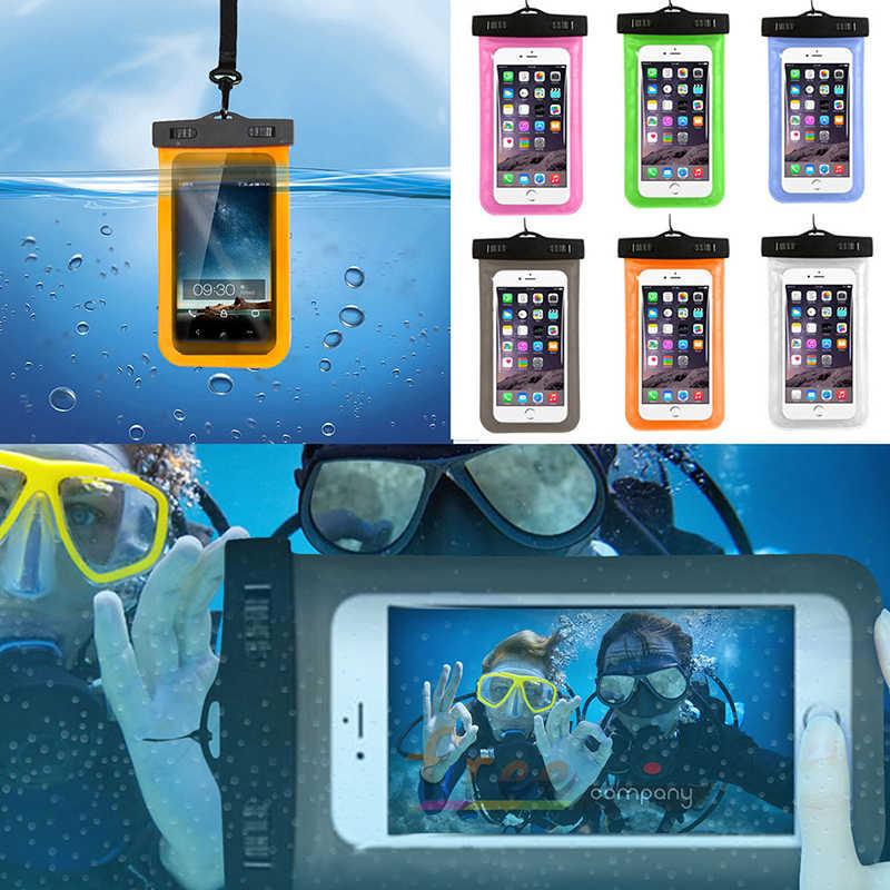 Evrensel kapak su geçirmez telefon kılıfı kılıfı kuru çanta korumak su yaşam yüzmek Lanyard ile su geçirmez kılıf