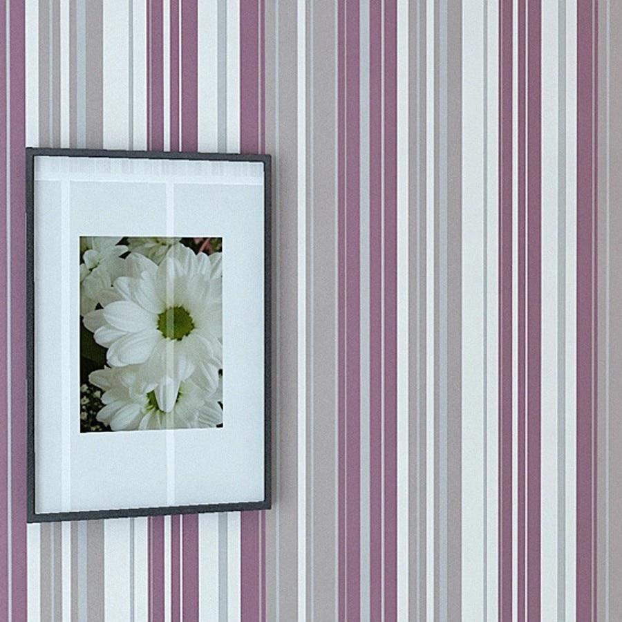 Ragazze camera da letto moderna carta da parati per pareti 3 d striscia viola della parete.jpg