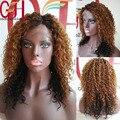 Ombre peluca Llena Del Cordón Pelucas Del Pelo Humano/Pelucas Delanteras Del Cordón Brasileño Afroamericano Kinky Rizado Pelucas de Pelo Humano Para Negro Women130Density
