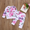 Newborn Infant Baby Girl Clothes Floral T shirt Tops+Pants 2PCS Outfits Setcotton Baby Rompers Jumpsuit Kids Baby 1