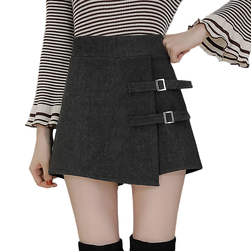2019 High Waist Wool Shorts Women Autumn Winter Button Skirt Shorts Ladies Plus Size Asymmetrical Mini Shorts Boots Short Femme